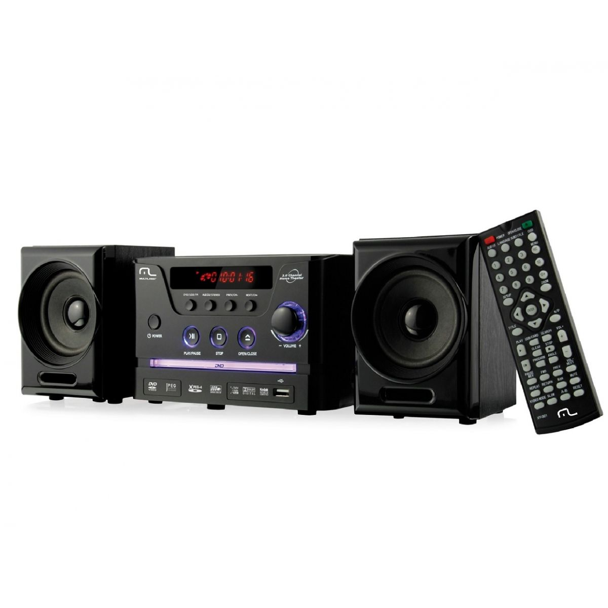Caixa de Som Mini System com DVD/CD Player/USB/FM 30W RMS SP141 - Multilaser