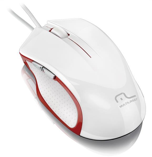 Mouse Laser XGAMER 2400DPI 6 Bot�es USB Branco/Vermelho MO202 - Multilaser