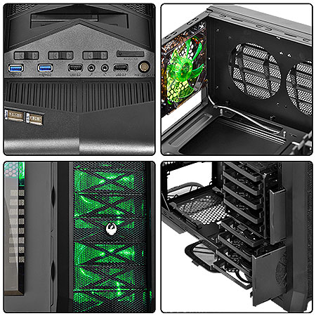 Gabinete Full Tower Gamer Dragon c/Led Verde 21496 - PCYES