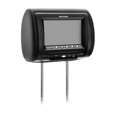 Encosto de Cabeça Automotivo c/ Leitor Tela TFT LCD 7 em Couro AU302 Preto - Multilaser
