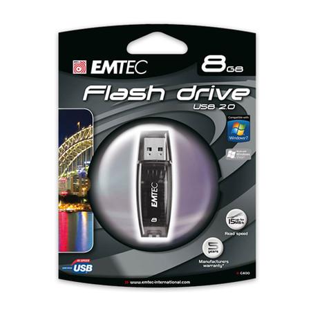 Pen Drive 8GB C400 USB Preto - Emtec