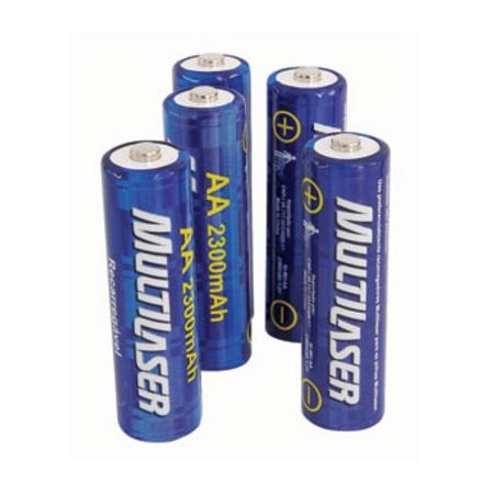 Pack c/ 4 Pilhas AA Recarregáveis 2500 mAh CB052 - Multilaser