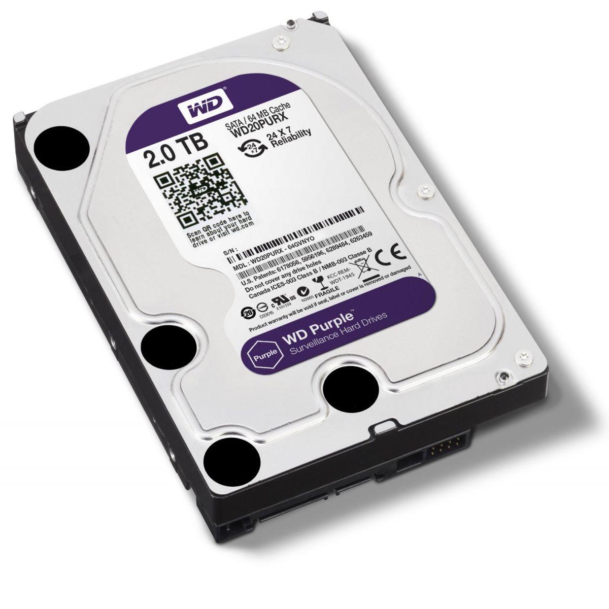 Hard Disk 2TB Sata III WD20PURX 64MB Cache Purple - Western Digital