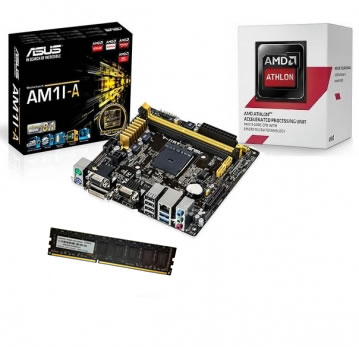KIT AM1 Placa Mãe AM1M-A + Processador Athlon AM1 5150 Quad Core 1.6Ghz 1.6Ghz + Mem de 4GB DDR3 1600Mhz Logic
