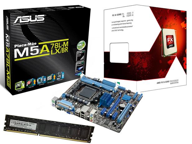 Kit AMD FX6300 3.5Ghz 14MB Box + Placa M�e Asus M5A78L-M LX/BR - Mem�ria de 4GB DDR3 1600Mhz Logic - Glacon