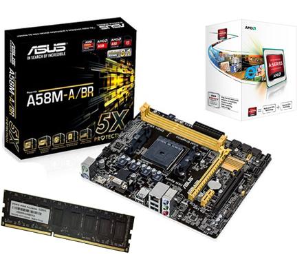 Kit AMD FM2 A4-5300 Dual Core 3.6GHz + Placa Mãe A58M-A/BR S/V/R + Memória de 4GB DDR3 1600Mhz