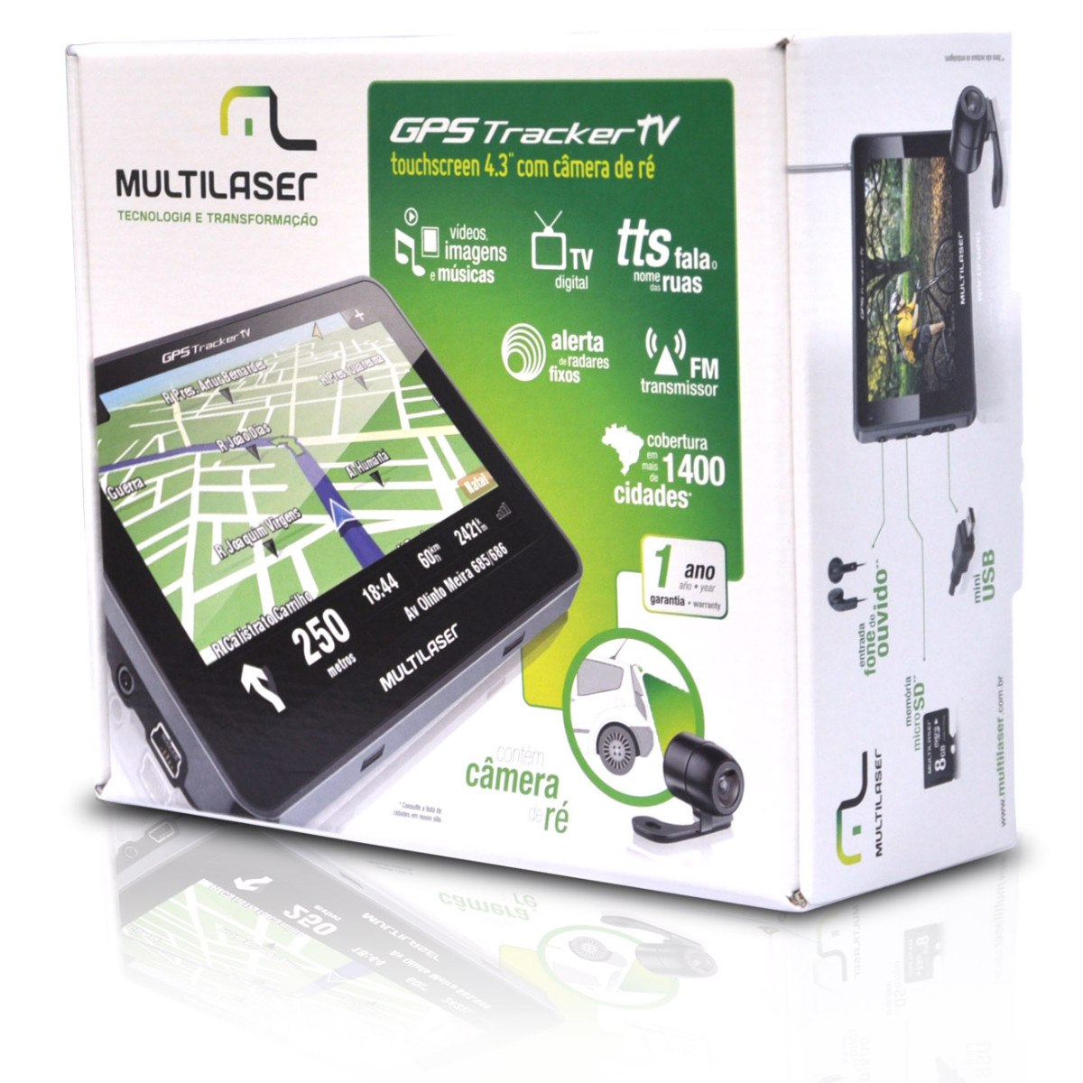 GPS Tracker 2- 4,3 C/AV IN+ TV + FM GP035 ( GP013) - Multilaser