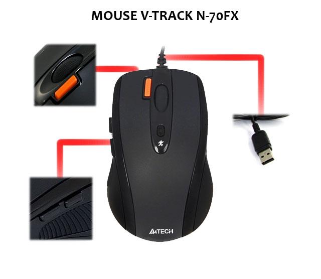 Mouse USB V-Trank N-70FX Preto - A4Tech