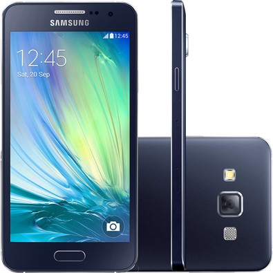 Smartphone Galaxy A3 A300M, Quad Core, Android 4.4, Tela 4.5, 16GB, 8MP, 4G, Dual Chip, Preto - Samsung