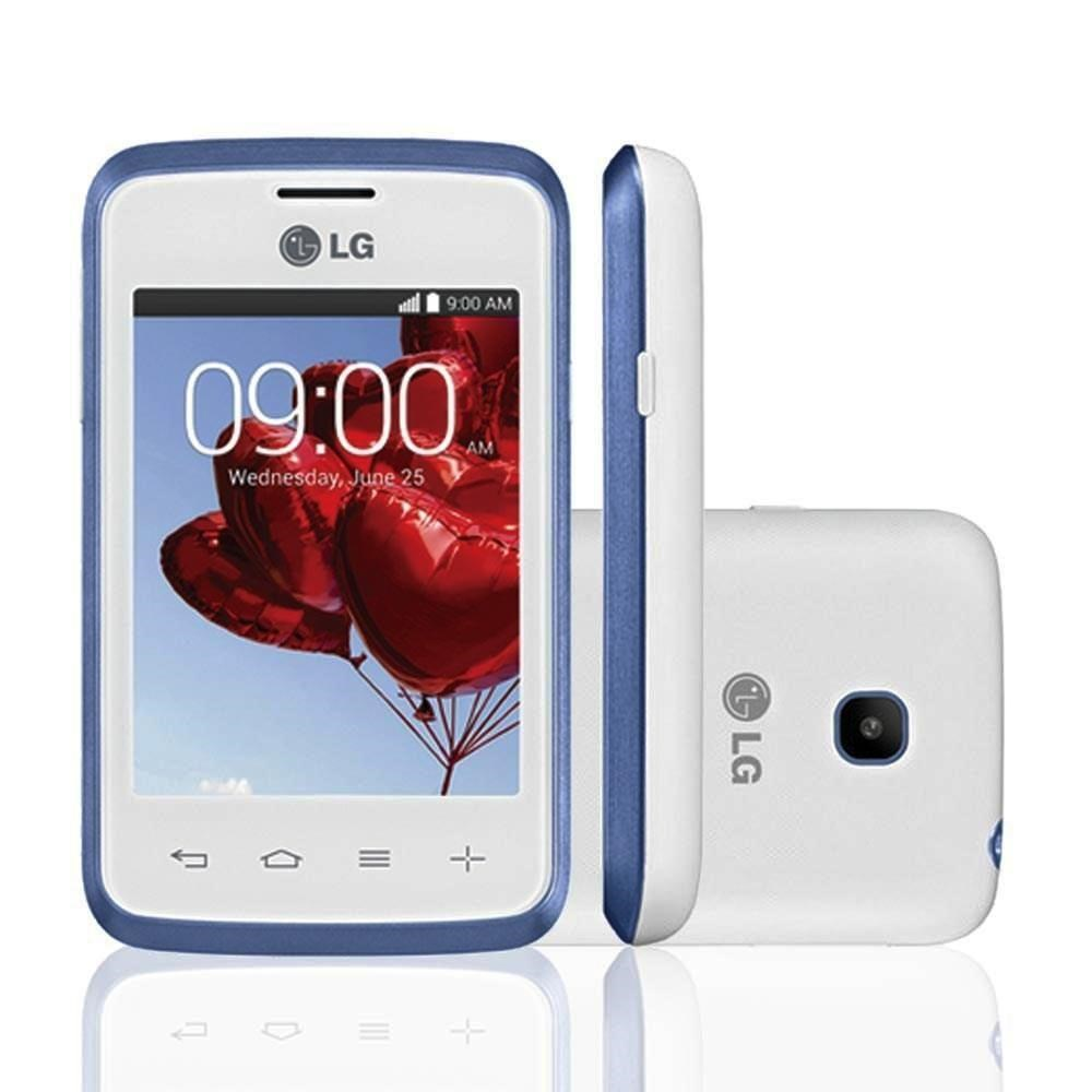 Smartphone L20 Single D100, Proc Dual Core, Android 4.4, Tela 3,0, C�m 2MP, 3G, Branco / Azul - LG