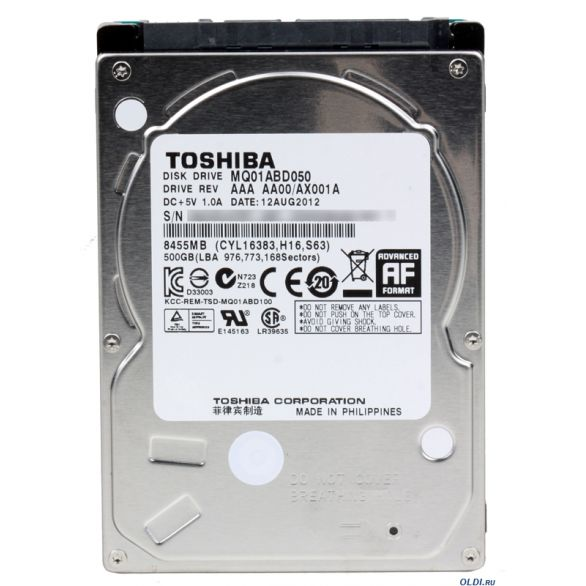 Hard Disk de 500GB p/Notebook 2,5 MQ01ABD050 - Toshiba