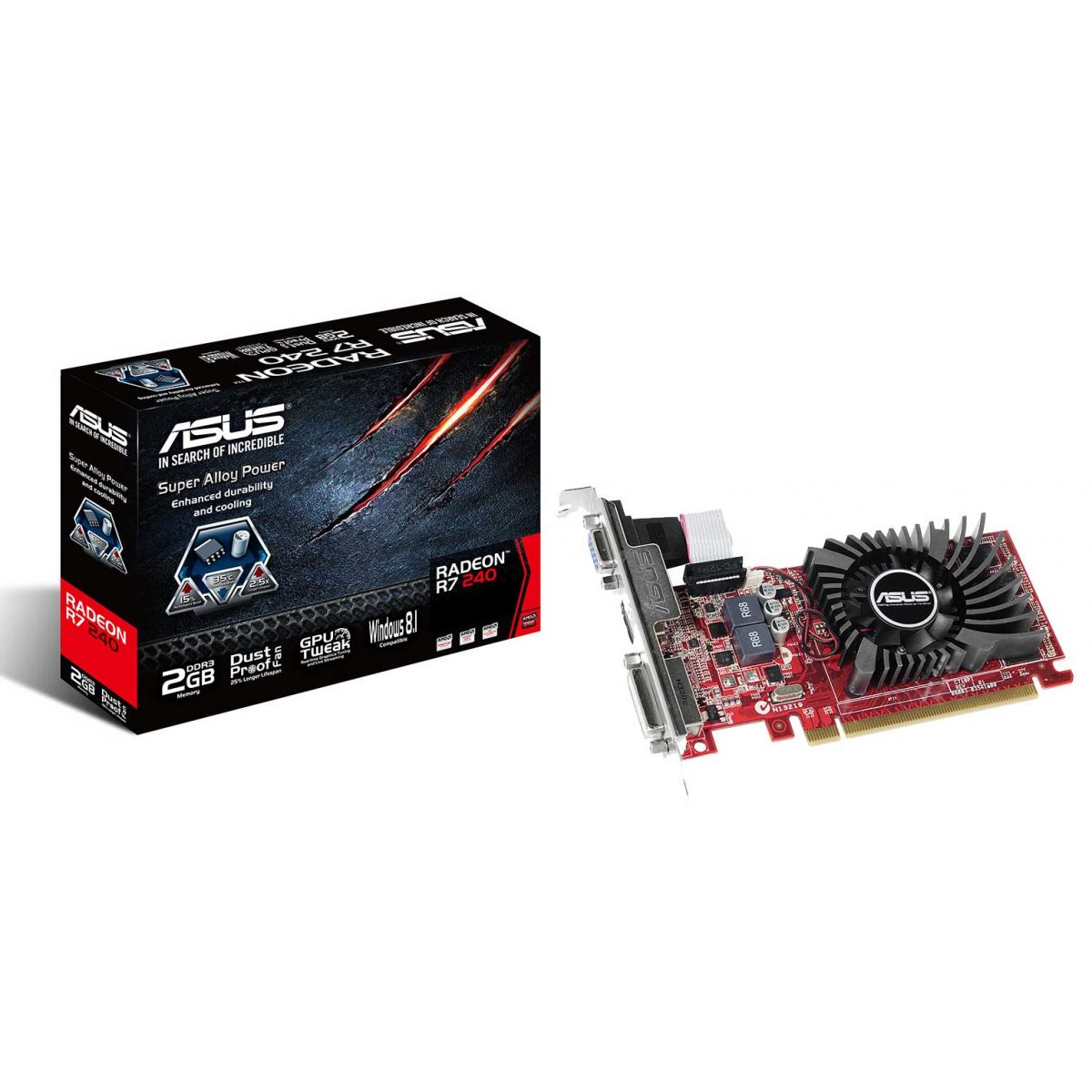 Placa de Vídeo Radeon R7 240 2GB DDR3 128Bit R7240-2GD3-L - Asus