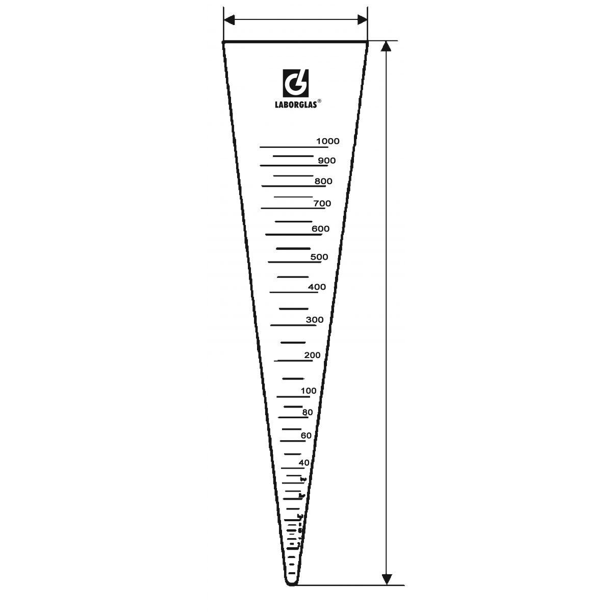 Cone de Sedimentação Imhoff Graduado  - loja.laborglas.com.br