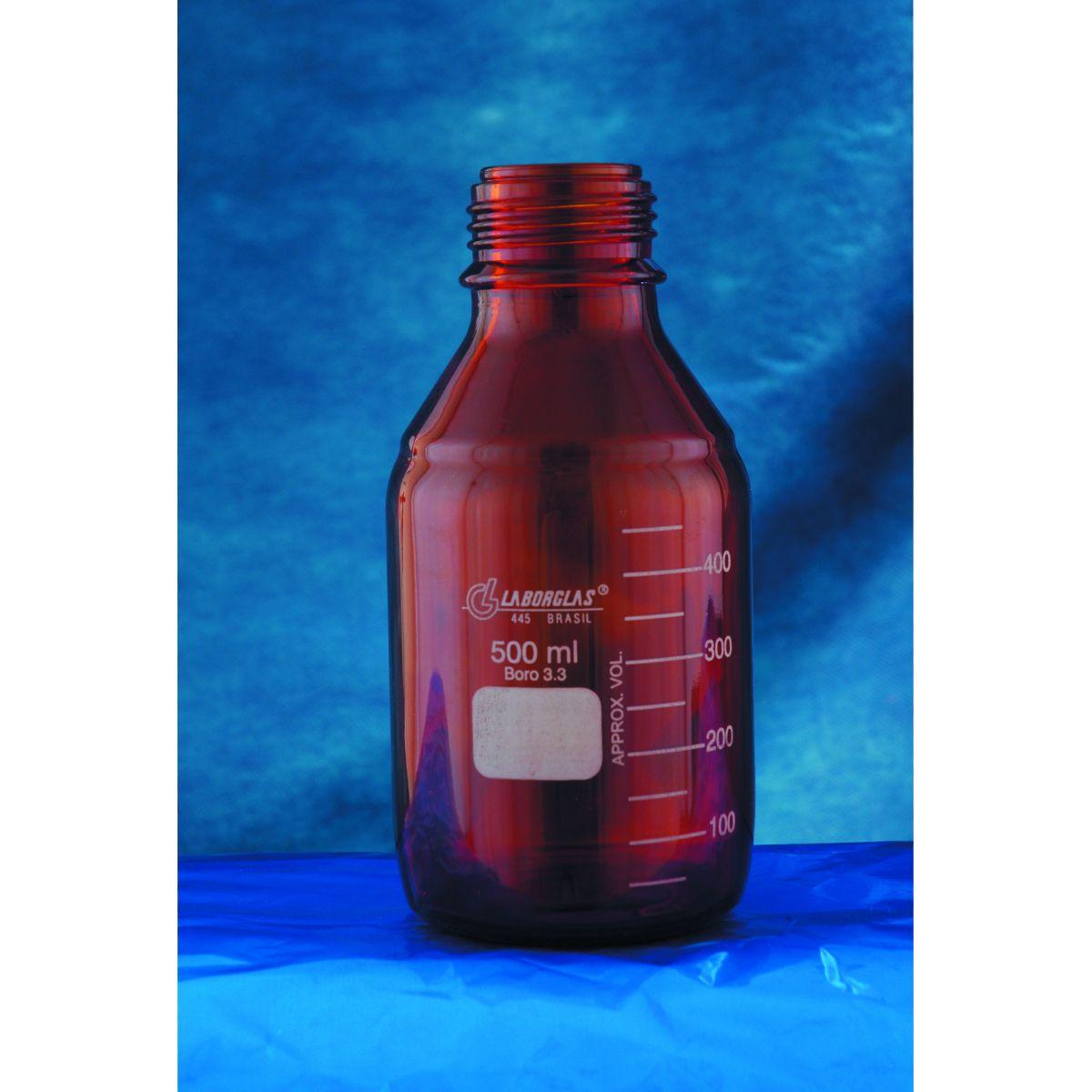 Frasco Reagente com Rosca Âmbar com Tampa de Rosca e Anel antigota Azul em PP  - loja.laborglas.com.br