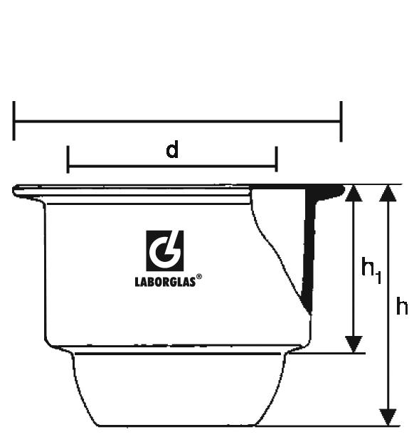 Dessecador de vidro com tampa e luva  - loja.laborglas.com.br