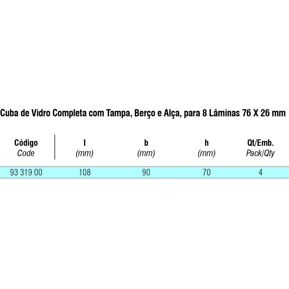 Cuba de Vidro completa com Berço e Alça para 8 Laminas  - loja.laborglas.com.br