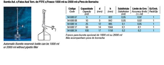 Bureta Automática com Torneira de PTFE e Faixa Azul e Frasco 1000ml ou 2000ml s/pera de Borracha  - loja.laborglas.com.br