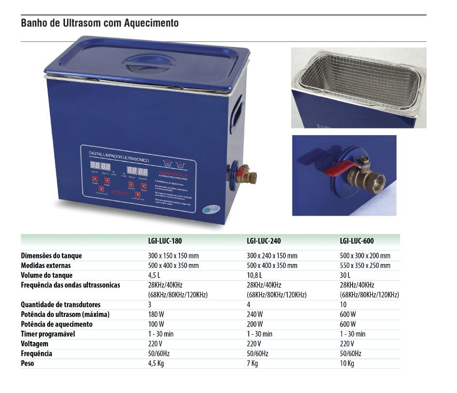Banho de Ultrassom com Aquecimento  - loja.laborglas.com.br