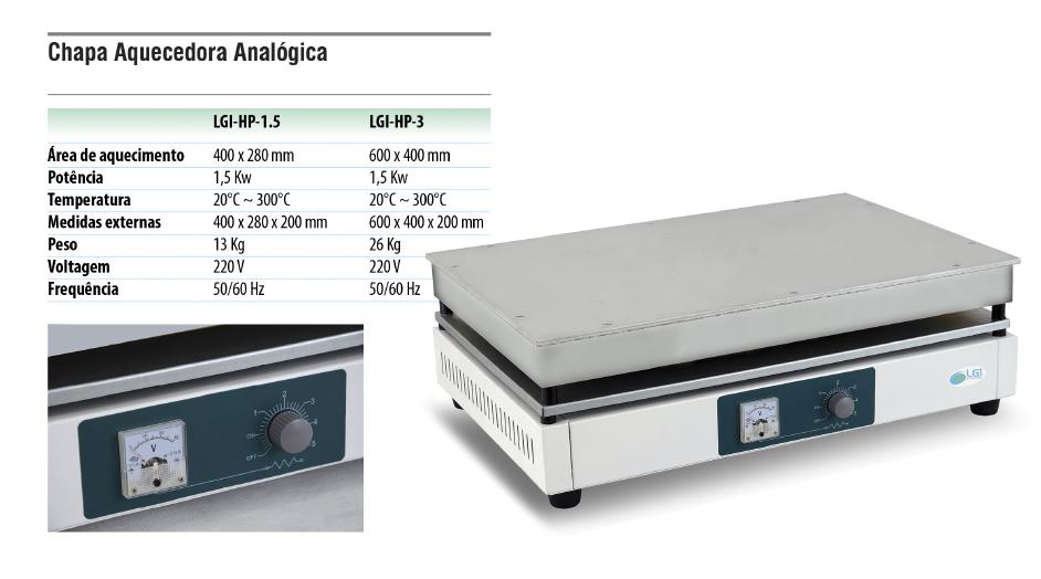 Chapa Aquecedora Analógica  - loja.laborglas.com.br