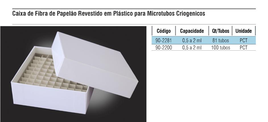 Caixa de fibra de papelão revestido em plástico para Microtubos criogênicos  - loja.laborglas.com.br