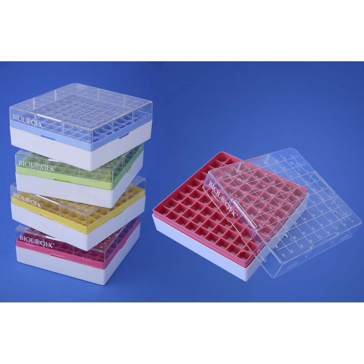 Caixa de policarbonato para Microtubos criogênicos 81 tubos  - loja.laborglas.com.br