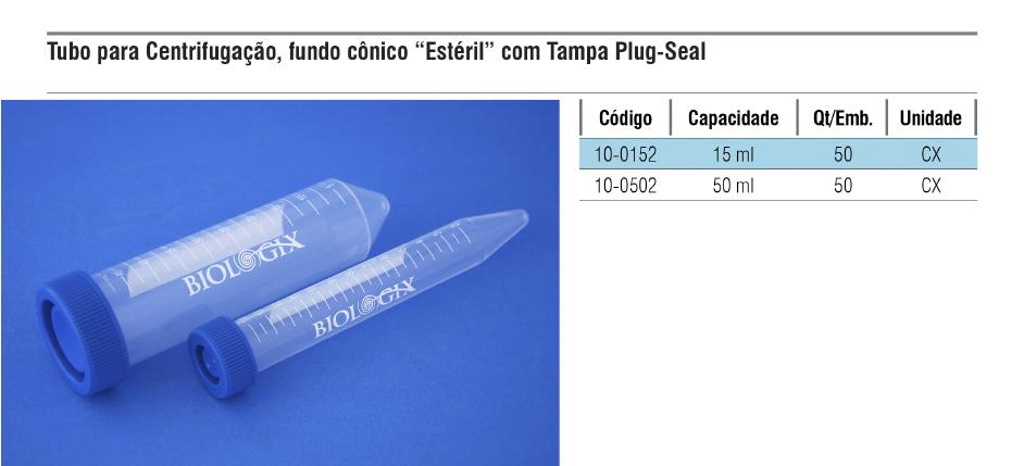 Tubo para centrifugação com fundo cônico estéril e tampa plug-seal  - loja.laborglas.com.br