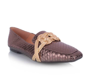 Loafer Luiza Barcelos Grafite/Ouro 12240015-1