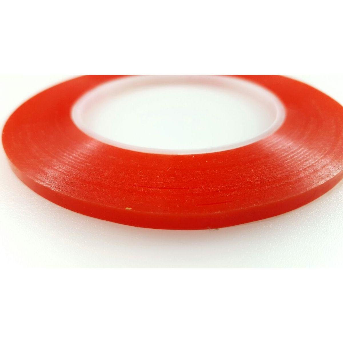Rolo Fita Dupla Face Vermelho Largura de 3mm 50 metros