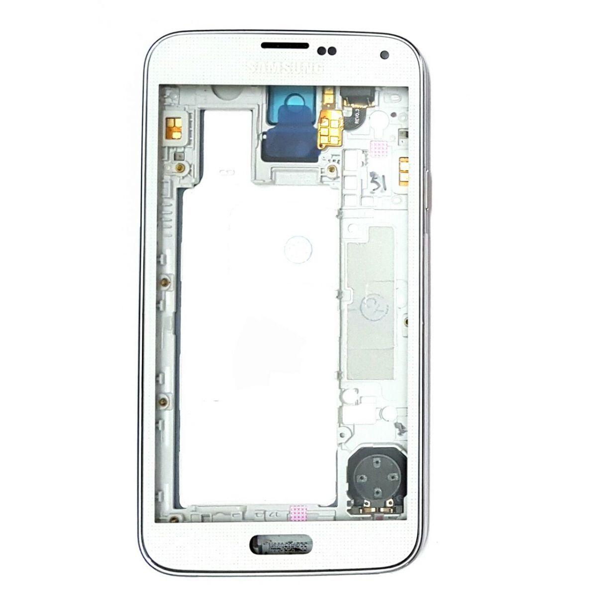 Carcaça Kit Completo com Chassis Aro e Lente de Vidro e Tampa Samsung S5 G900m Branco