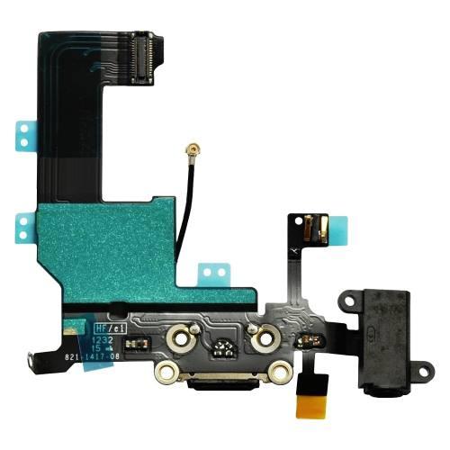 Cabo Flex Conector Carga Usb Fone Microfone Antena Apple Iphone 5 Preto
