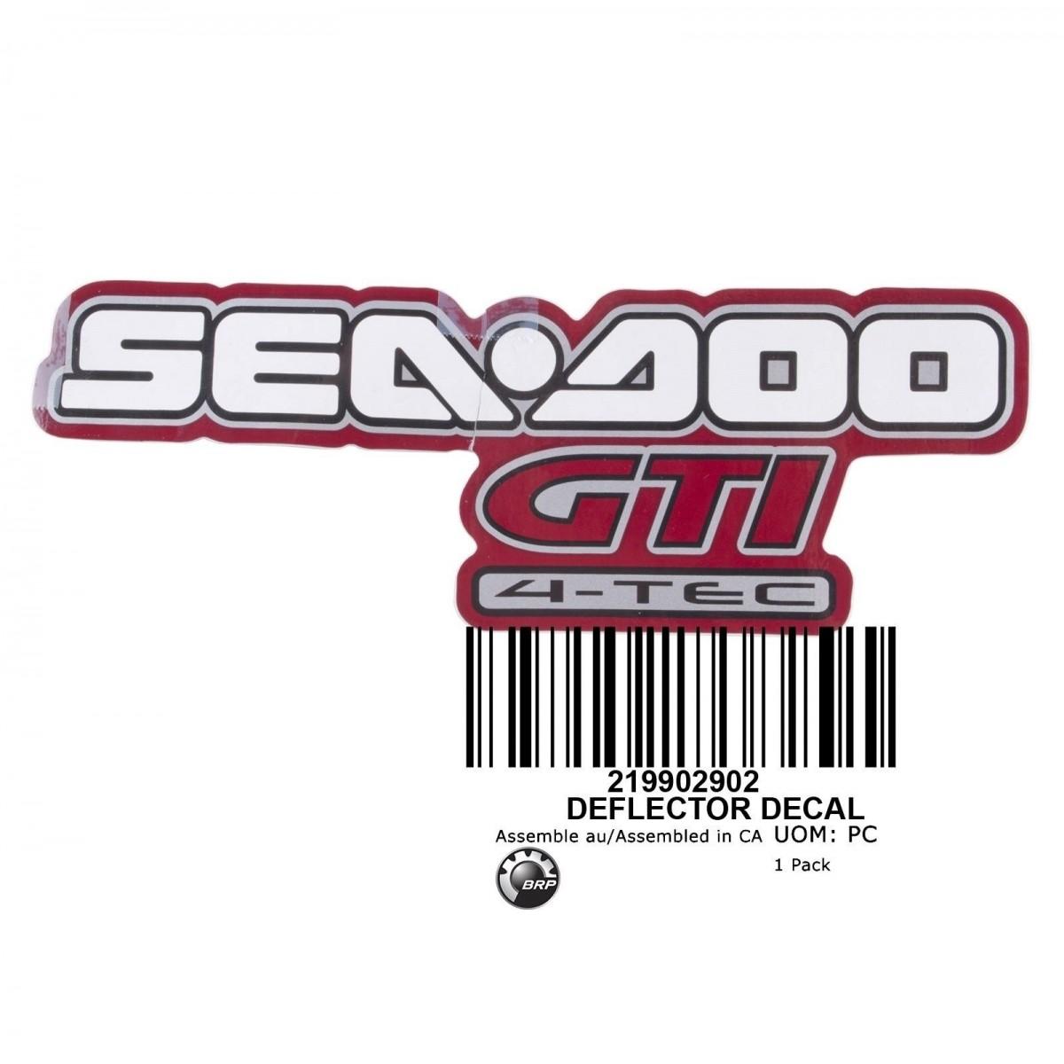 Adesivo do Defletor para Jet Ski Sea Doo GTI 4 TEC 09 Vermelho/Branco 219902902  - Radical Peças - Peças para Jet Ski