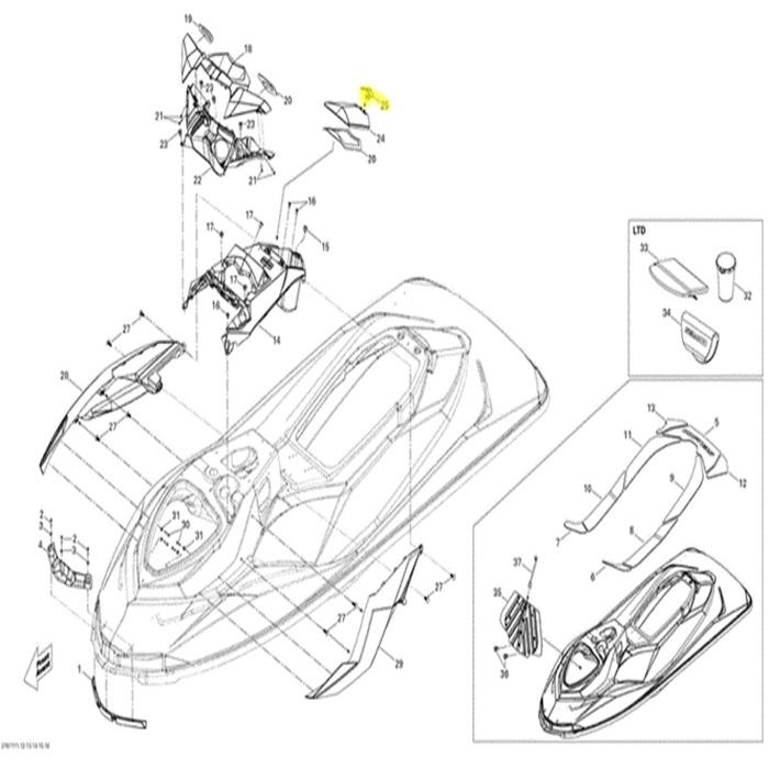 Trava Da Tampa Do Porta Documentos Para Jet Ski Sea Doo 264000091