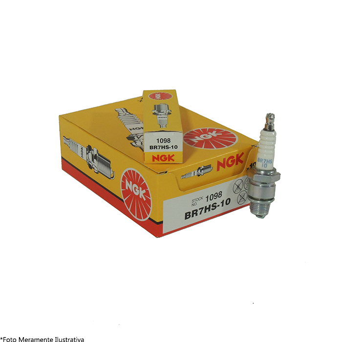 Vela BR7HS-10 para Motor de Popa Mercury 15/25 NGK (Caixa com 10 unidades)  - Radical Peças - Peças para Jet Ski