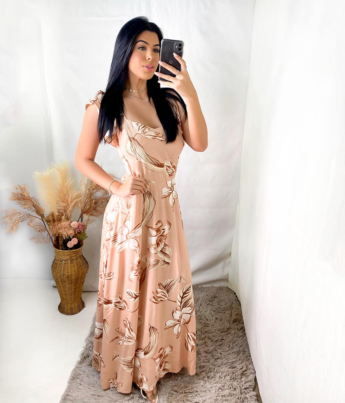 Vestido Longo Daiane Alça Babado Bege