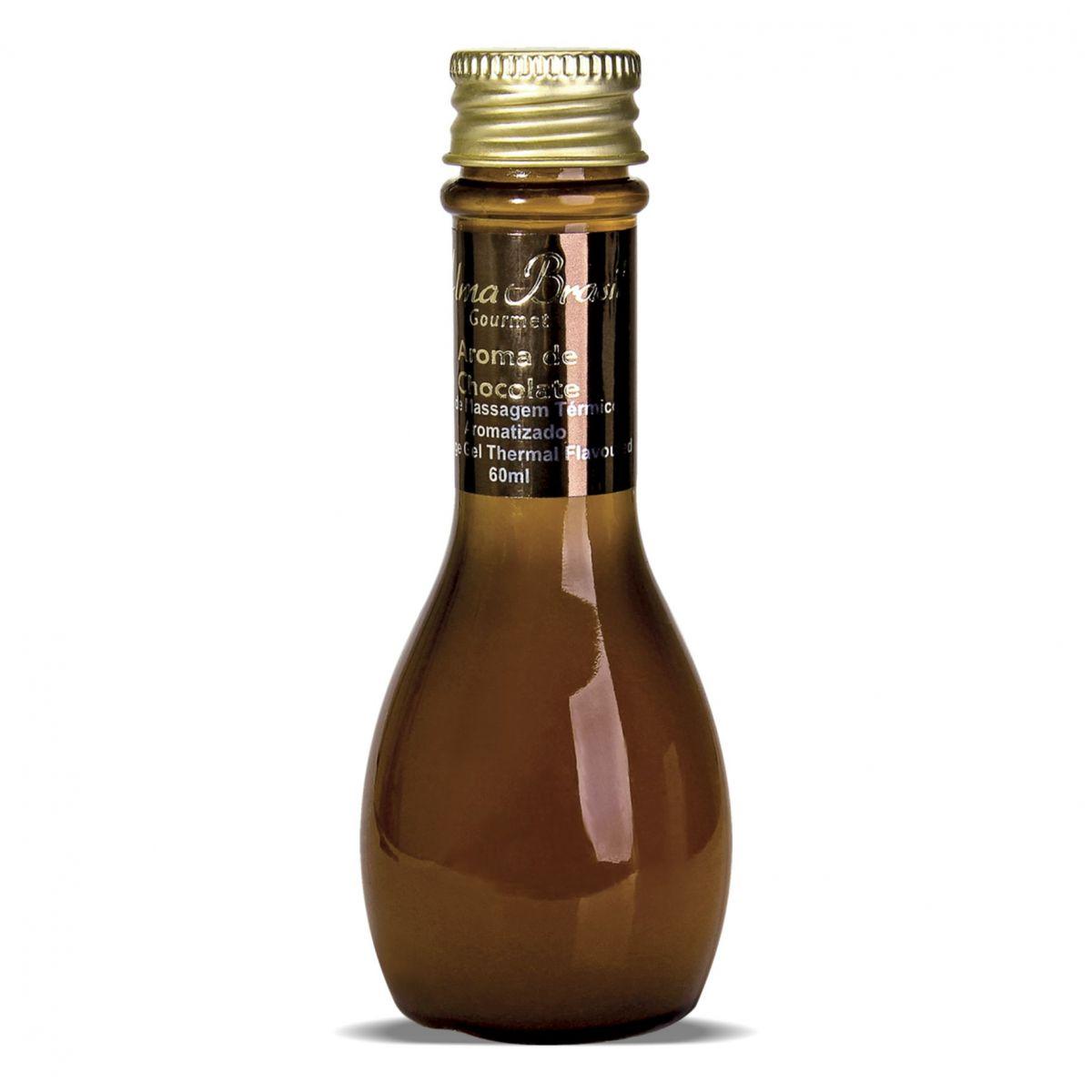 Gel de massagem térmico aromatizado lubrificante Gourmet Chocolate 60ml  - Alma Brasil Cosméticos