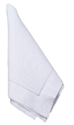 Kit 12 Guardanapo Cambraia de Linho Ajour Feito a Mão branco 47x47  - Helô Reis