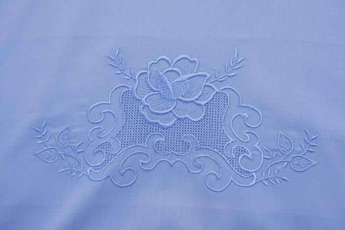 Roupa De Cama Bordado Crivo 2 Cor Azul  - Helô Reis Store