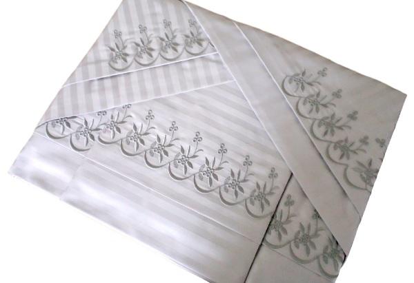 Roupa de Cama Tecido 500 fios Adamascado Bordado Tágima Cor Branco/Prata