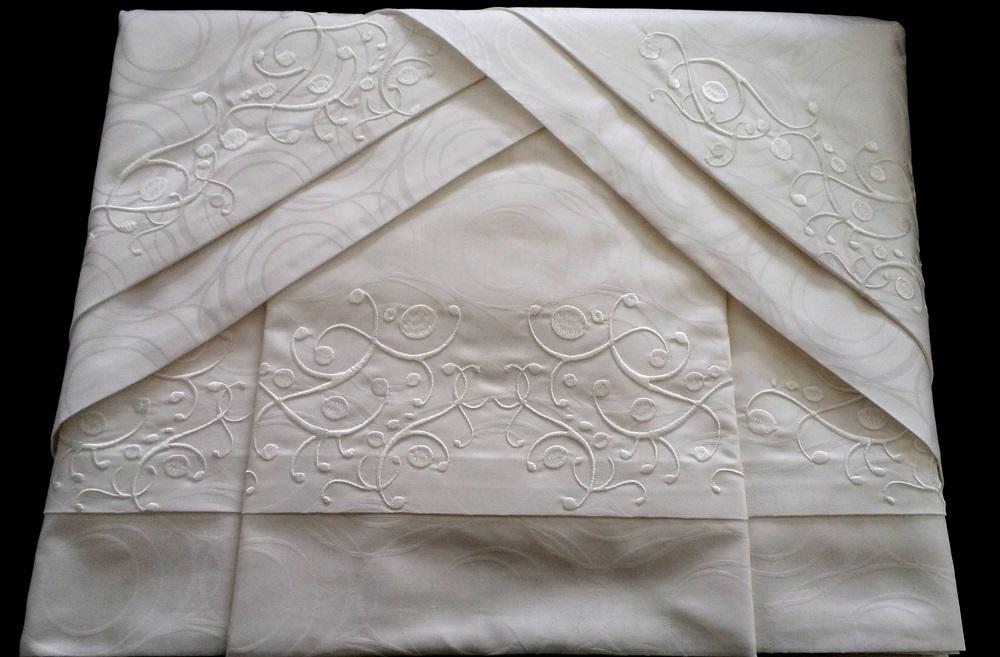 Roupa de Cama 500 fios Adamascado Oval Bordado Arbóreo Cor branco  - Helô Reis