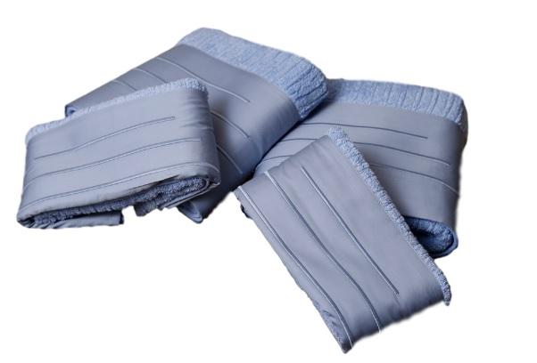Jogo de Banho 500 fios Bordado Palito Cor Azul 5 peças  - Helô Reis