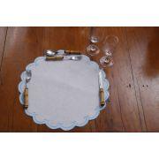 Sousplat Linho Cisne azul claro Kit com 8