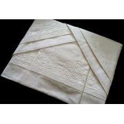Roupa de Cama 500 fios Adamascado Oval Bordado Arbóreo Cor branco
