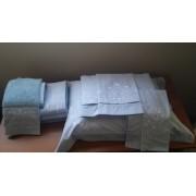Kit Roupa De Cama  e Jogo de banho 9 peças Bordada Bordado Bud Cor Azul Bordado Branco Percal 250 fios