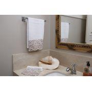 Toalha de Lavabo Richelieu Cor Branco/Bege M/P