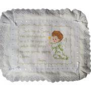 Capa de Almofada Oração Anjo da Guarda branco/verde