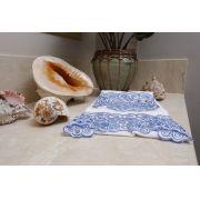 Toalha de Lavabo Richelieu Cor Branco/Azul M/P