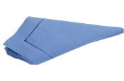 Guardanapos de Linho Misto Bainha Ponto Ajour Feito a Mão Cor Azul 45x45