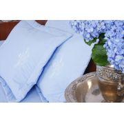 Cobre Leito Bordado Português cor Azul/Branco
