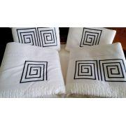 Jogo de Banho 5 peças Palito Labirinto branco/ azul marinho