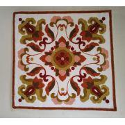 Capa de Almofada Bordada Branco/Rosê/Bege Florao